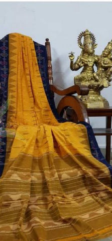 Yellow with blue pure handloom ikkat Cotton Saree