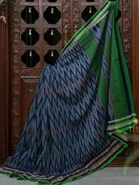 Grey with multicolor stripes pure handloom ikkat Cotton Saree