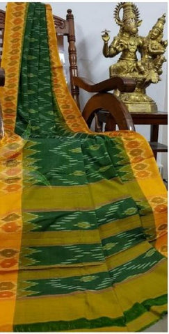 Green with Yellow pure handloom ikkat Cotton Saree