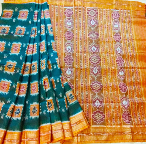 Dark bottle green with orange  khandua silk saree