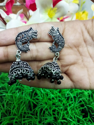 Stylish peacock Oxidised German Silver Jhumkas with black beads