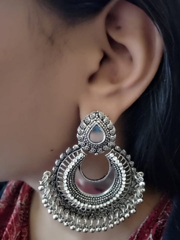 German Silver Dangler Earrings with studded stones