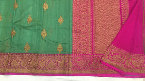 Green with pink Banarasi tussar Silk Saree