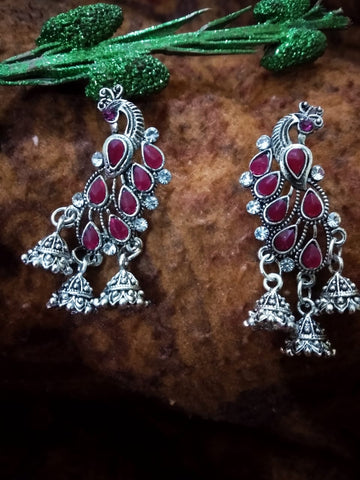 Red stones three jhumkas peacock Oxidised German Silver Jhumkas with black beads