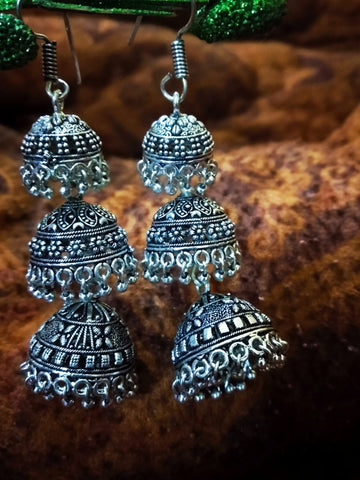 Four tier Oxidised German Silver Jhumkas with beads
