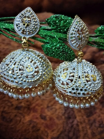 Enamel finish white with gold big  jhumkas