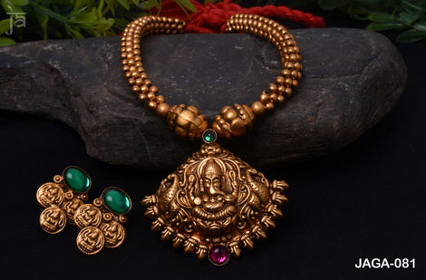 Ganesh Antique gold  temple jewellery set with beautiful matching earrings
