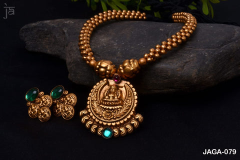 Mahadevi Antique Gold Temple Jewellery set with beautiful matching earrings