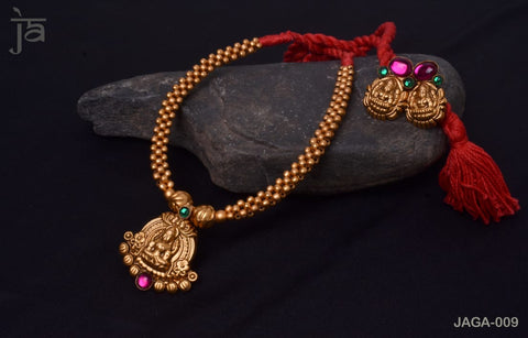 Parvati Antique Gold Temple Jewellery set with beautiful matching earrings