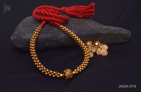 Small beads with rudraksh design pendant in Antique Gold Temple Jewellery set with beautiful matching earrings