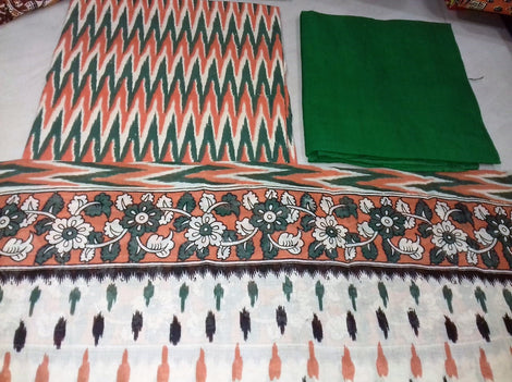 Green with tri colour zigzag design Cotton Kalamkari Dress Material