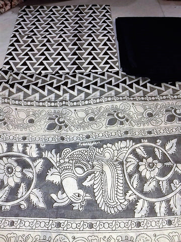 Black with grey geometric design Cotton Kalamkari Dress Material