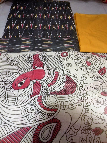yellow and black Cotton Kalamkari Dress Material