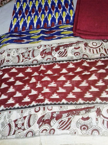maroon with tricolor Cotton Kalamkari Dress Material
