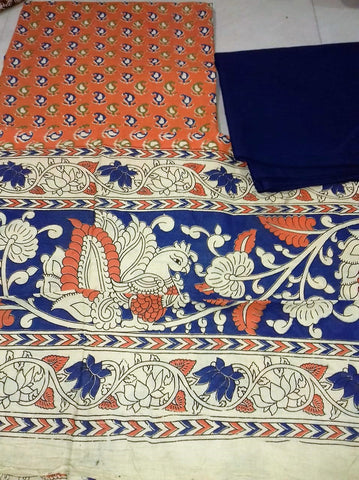 Navy Blue with orange paisley Cotton Kalamkari Dress Material