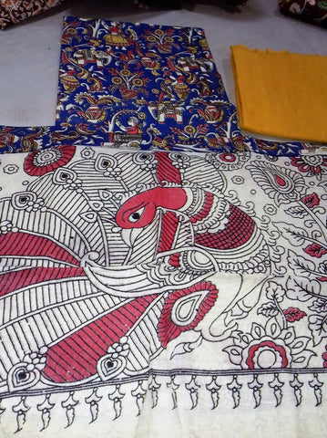 yellow with blue Cotton Kalamkari Dress Material