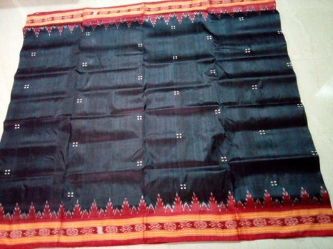 Exquisite Black with maroon khandua silk saree