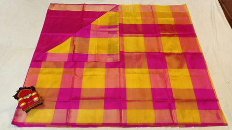 Chequered yellow and pink uppada silk Saree