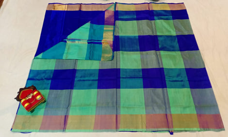Chequered sea green and blue uppada silk Saree