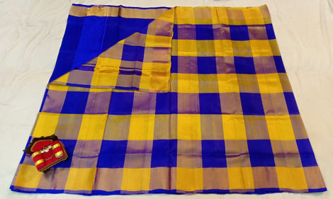 Chequered Yellow and blue uppada silk Saree