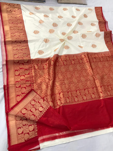 Offwhite with red Banarasi katan Silk Saree