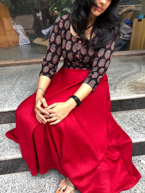 Printed Black with red  satin coloured Kurta