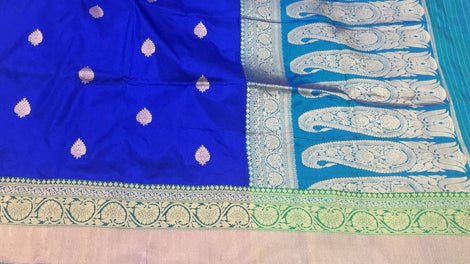 blue buttidaar Banarasi katan Silk Saree