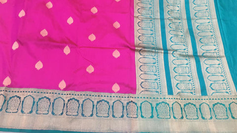 Pink with turquoise green buttidaar Banarasi katan Silk Saree