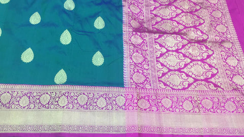 Peacock green with pink buttidaar Banarasi katan Silk Saree