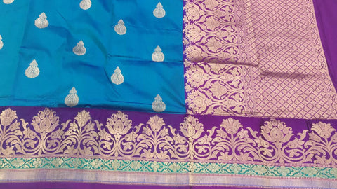 Azure blue with dark magenta buttidaar Banarasi katan Silk Saree