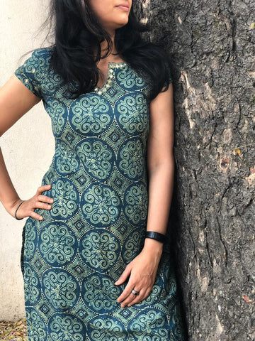 Indigo ajrakh printed  Kurta with mirror work