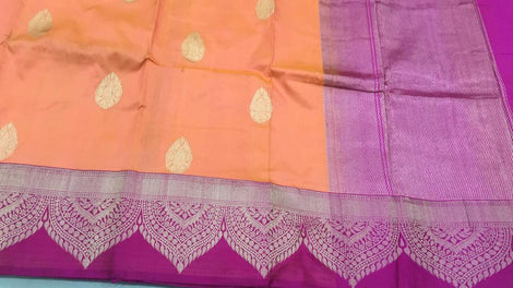 Orange with pink  buttidaar Banarasi katan Silk Saree