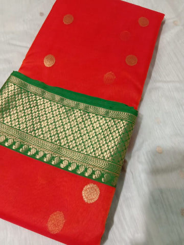 Splendid red with green chanderi katan silk Sarees