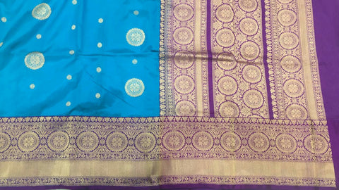 Blue with purple buttidaar Banarasi katan Silk Saree