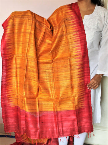 Golden yellow with red Sambalpuri Handwoven Tussar silk Dupatta