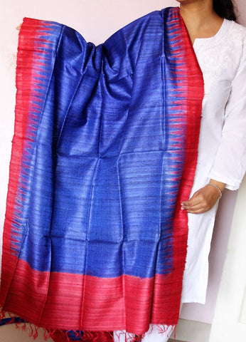 Blue with Red Sambalpuri Handwoven Tussar silk Dupatta