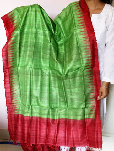 Green with red  Handwoven Tussar silk Dupatta