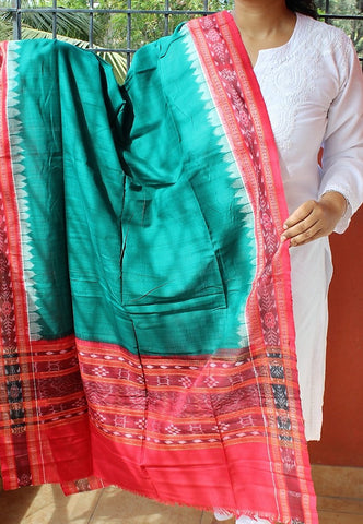 Teal Blue with Red Sambalpuri Handwoven Cotton Dupatta with Pasapalli weaves
