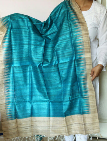 Turquoise with beige  Handwoven Tussar silk Dupatta