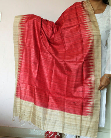 Red with beige  Handwoven Tussar silk Dupatta