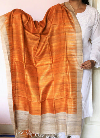 Orange with beige  Handwoven Tussar silk Dupatta