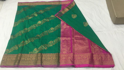 Green and pink with shoulder design Banarasi dupion Silk Saree