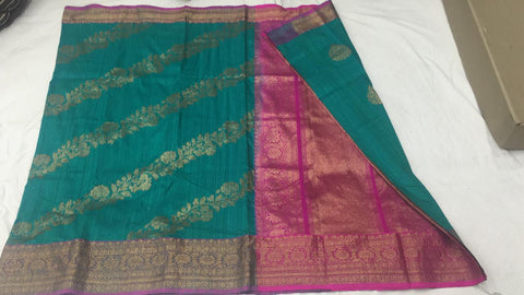 Turquoise green and pink with shoulder design Banarasi dupion Silk Saree
