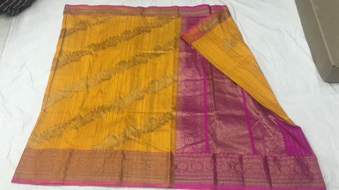 Golden yellow and pink with shoulder design Banarasi dupion Silk Saree