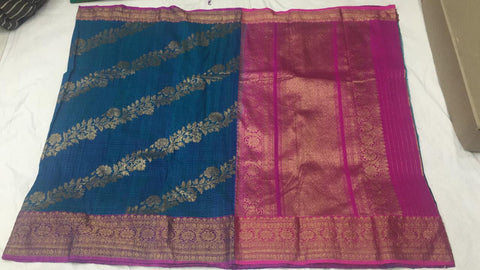 Navy and pink with shoulder design Banarasi dupion Silk Saree