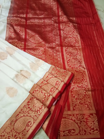 Alluring White with red Banarasi katan Silk Saree