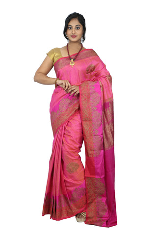 Elegant Pink Colored Banarasi Silk Saree