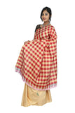 Aztec Gold Handloom Khadi Silk Saree with Checks