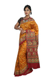 Golden Yellow Khadi Printed Silk Saree
