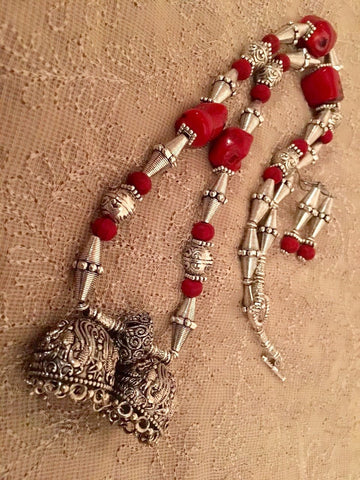 Dual jhumka necklace set